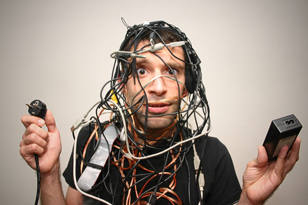man with cords
