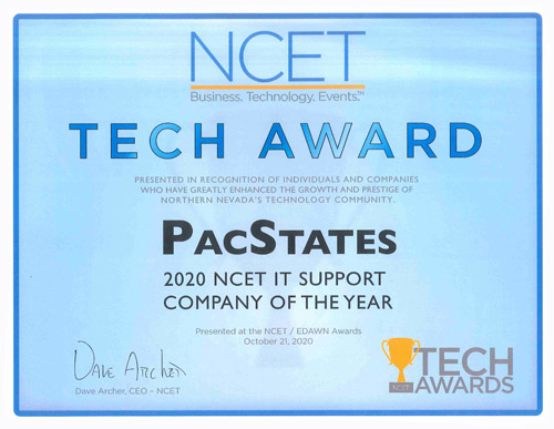 2020 NCET IT Support Company of the Year