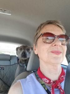 Nancy and Dog in Car