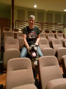 Nancy and Dog in Theater