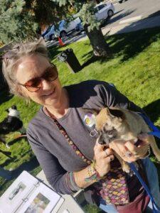 Nancy and Dog Outside